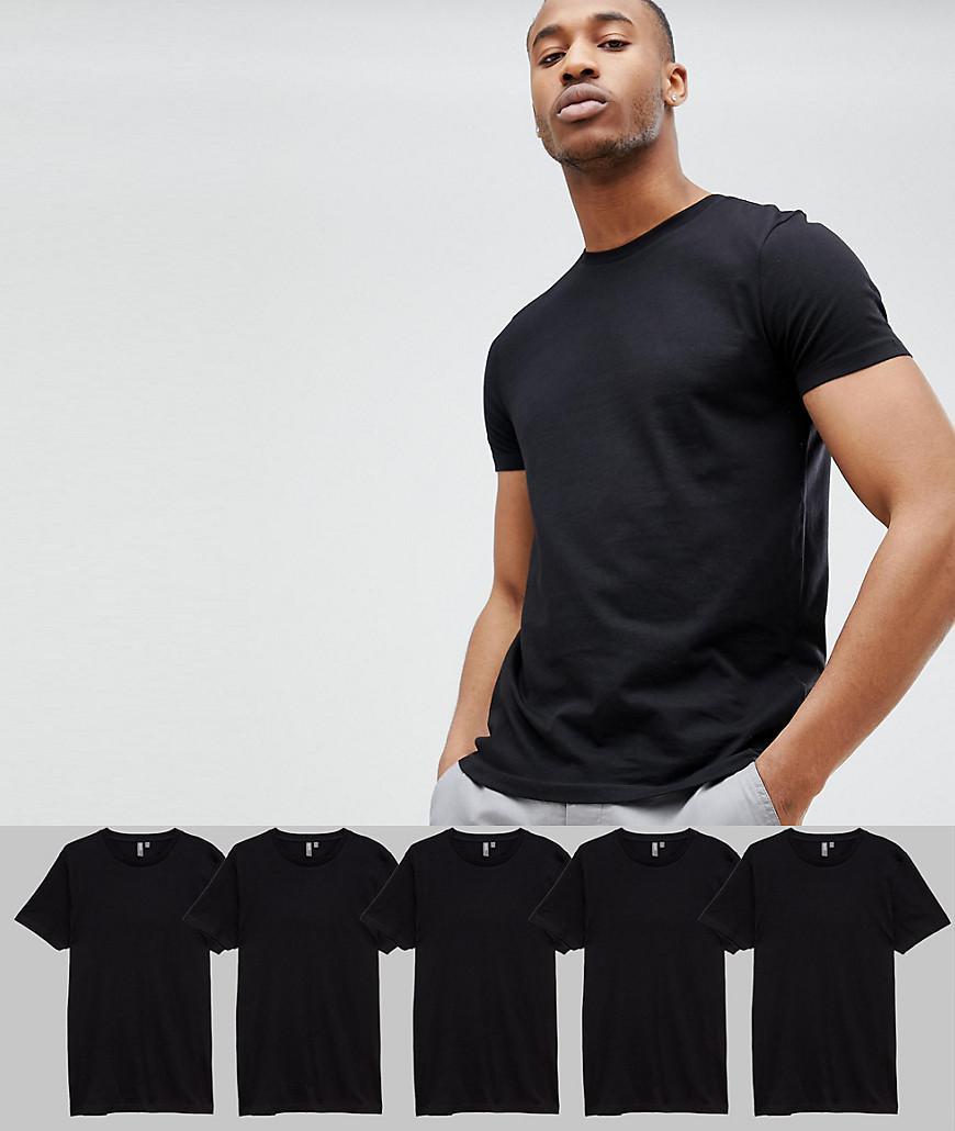 8590209d5f8 Asos Design Crew Neck T-shirt 5 Pack Save in Black for Men - Lyst