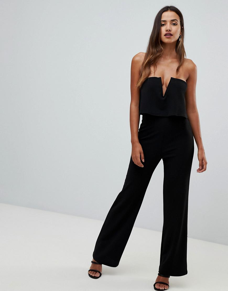 2558f98250f7 Lyst - Girl In Mind Bandeau Double Layer Jumpsuit in Black