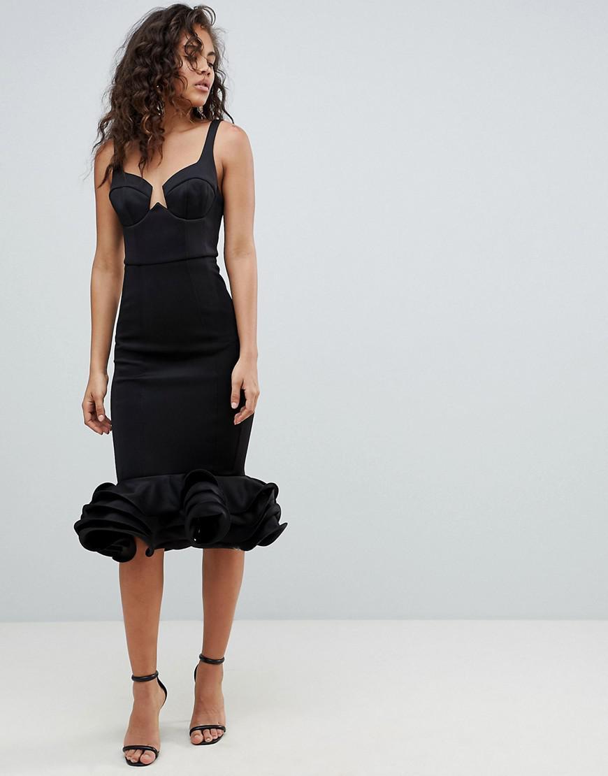 ASOS DESIGN Tall premium cupped flippy pephem midi dress - Black Asos Tall TLpeRZZyZ
