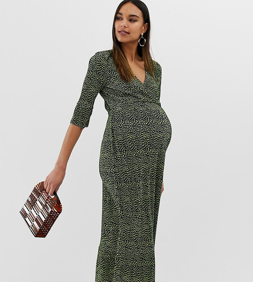 d68f6f84e8af29 ASOS. Women's Green Asos Design Maternity Midi Plisse Tea Dress In Blurred Spot  Print