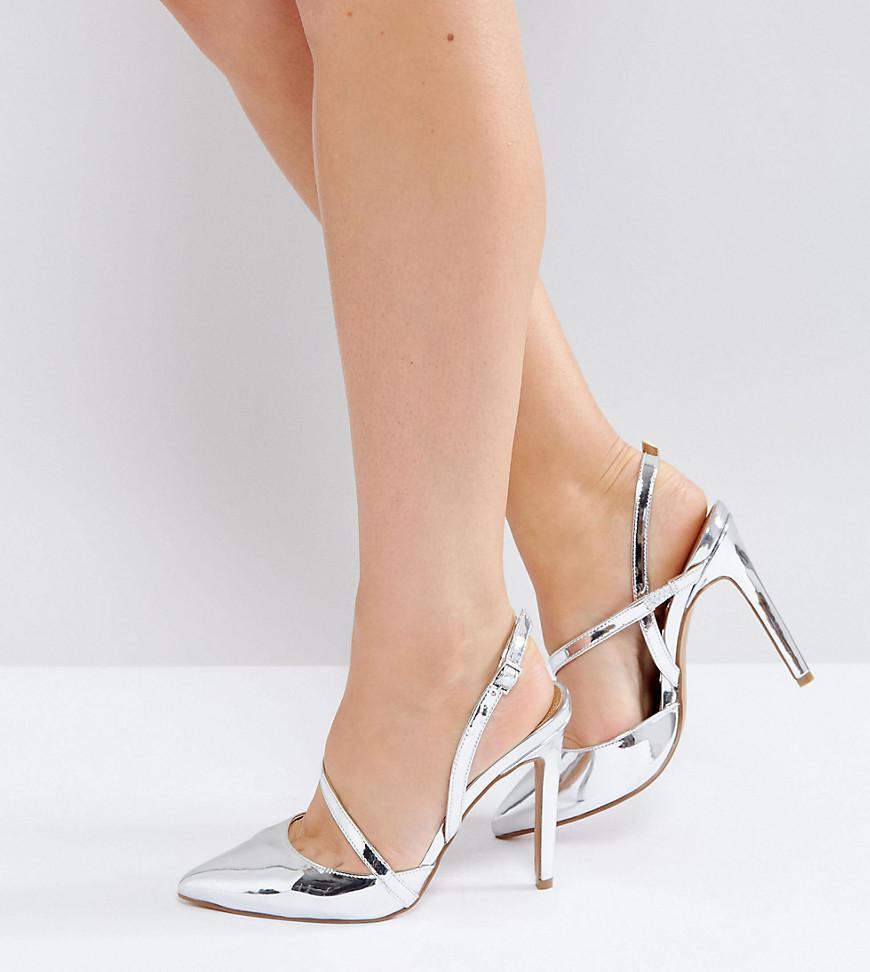 6e5d7847c29 Lyst - Asos Parton Wide Fit Asymmetric Pointed Heels in Metallic