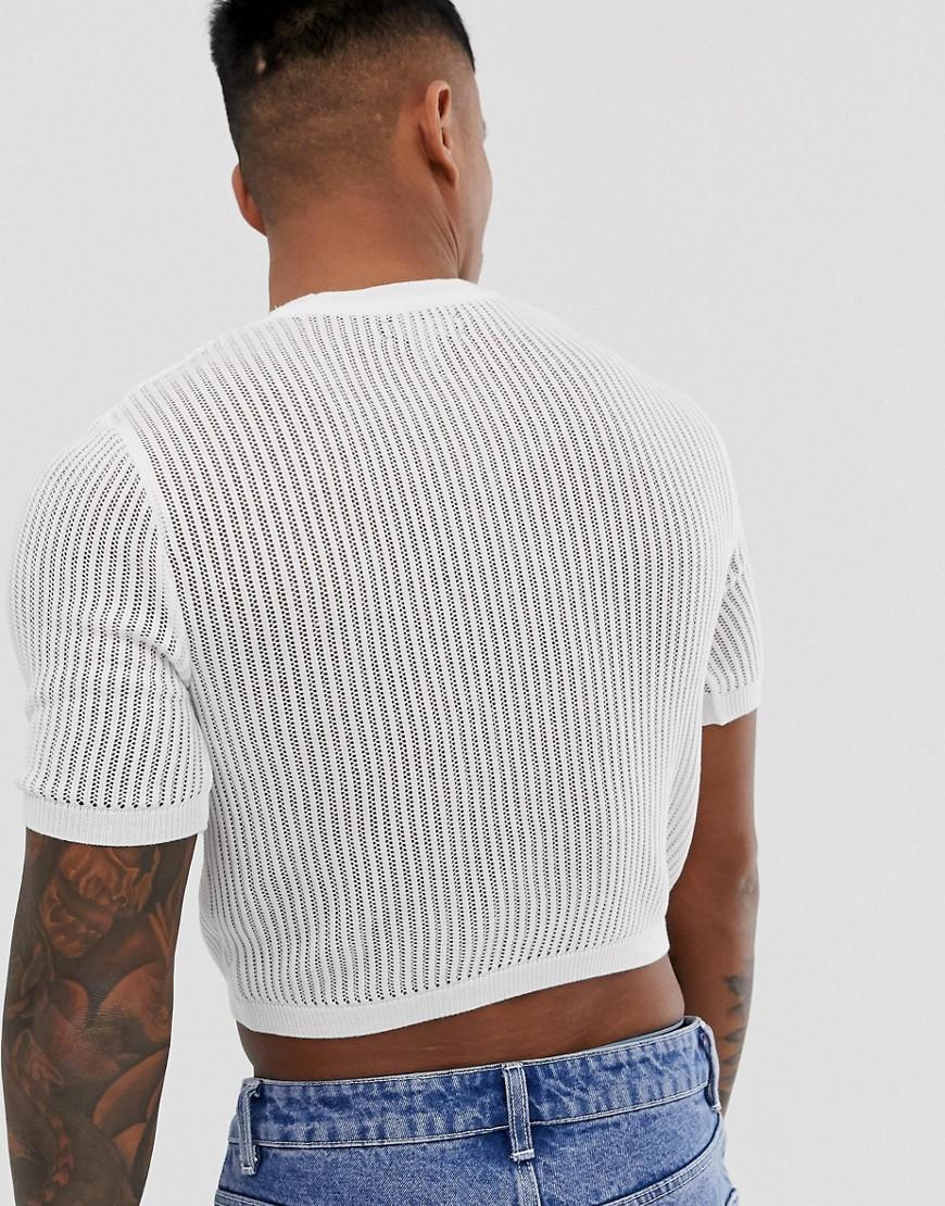 a124c4aecf7743 ASOS Knitted Sheer Mesh Cropped Jumper In White in White for Men - Lyst