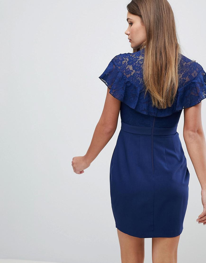 a682004fe7a6 Lyst - ASOS Asos Lace Insert Pencil Mini Dress in Blue