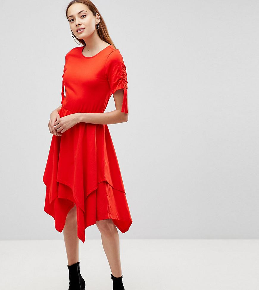 ASOS Hanky Hem Midi Skater Dress with Ruched Sleeve Cheap Sale In China 6KiMWbuo