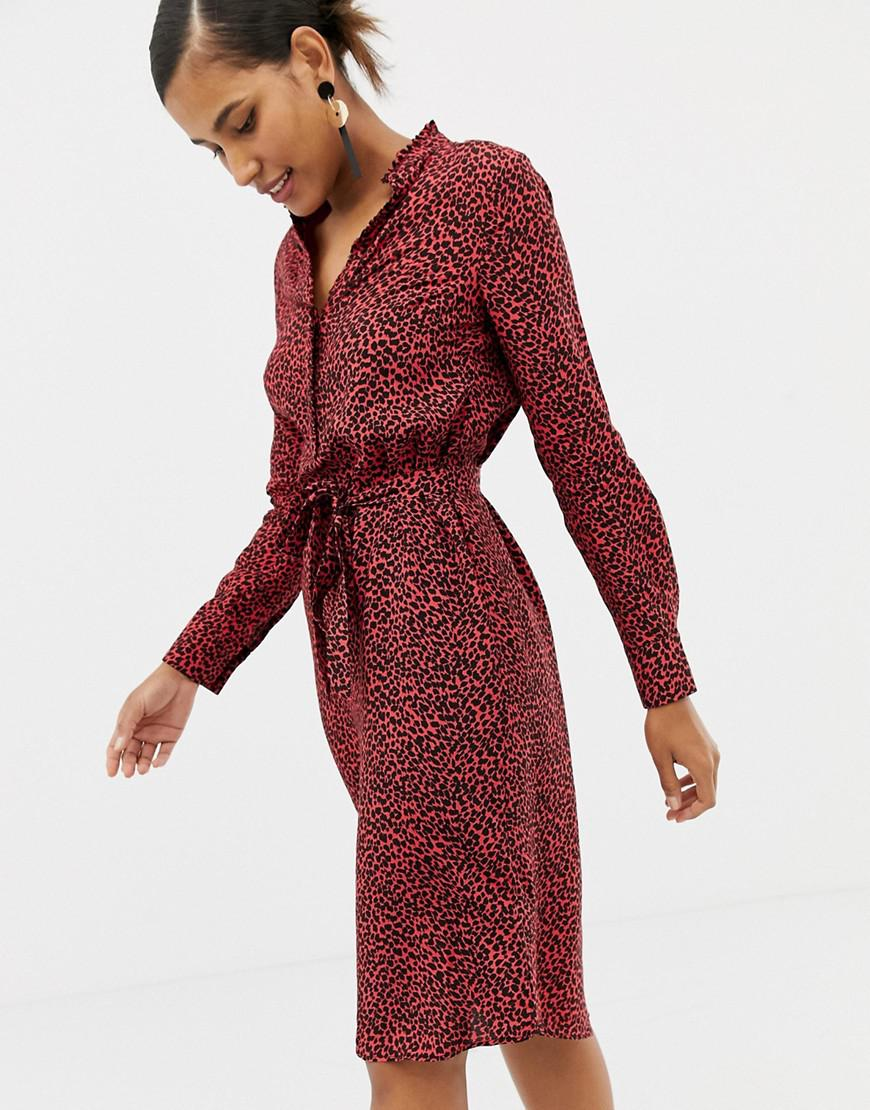 3495119b97 Lyst - Oasis Shirt Dress With Tie Waist In Red Animal Print in Red ...