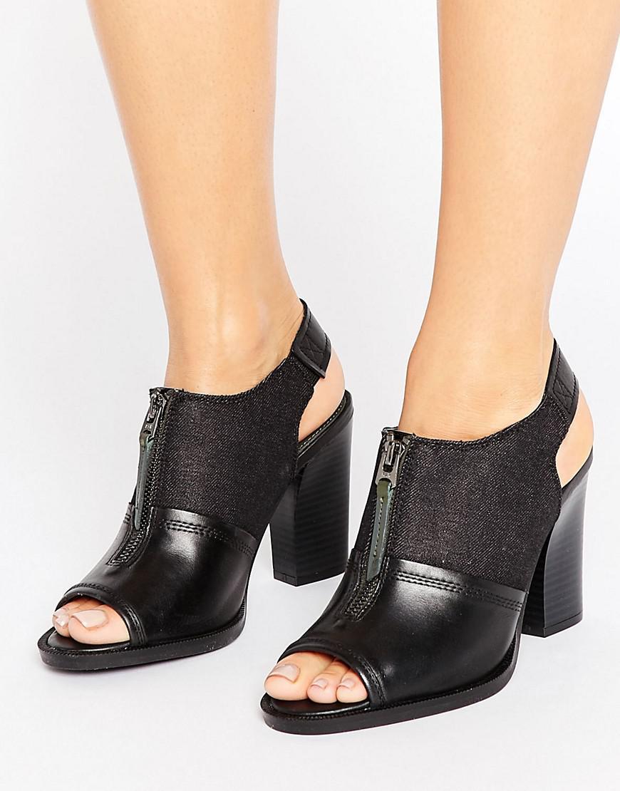 G-Star RAW. Women's Lynn Black Leather Heeled Sandals