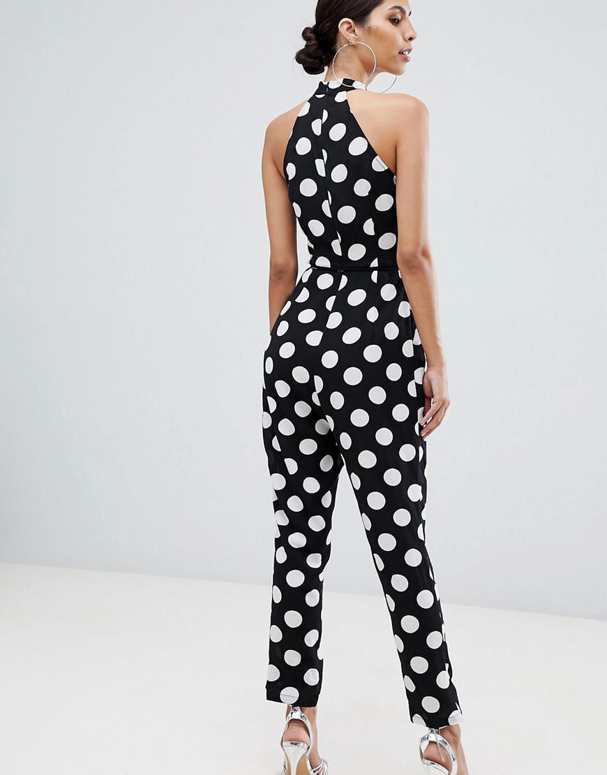 779ead049136 Lyst - Ax Paris Racer Neck Tailored Polka Dot Jumpsuit in Black