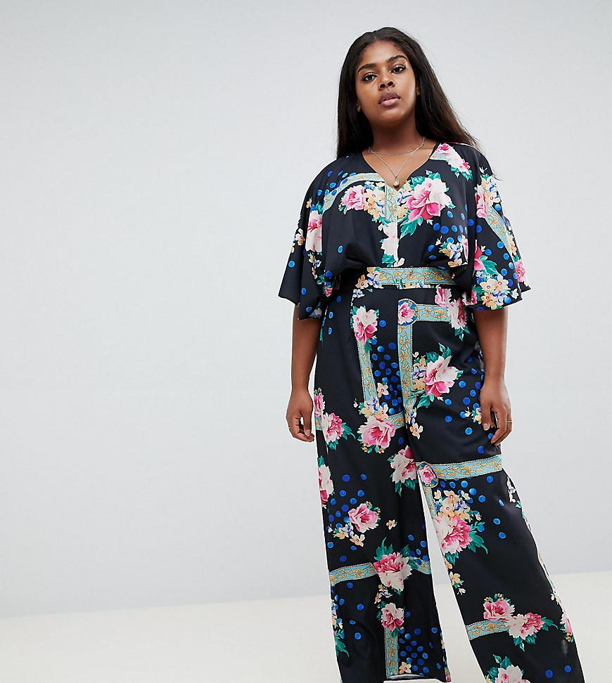 cf0b4473eefd Lyst - ASOS Asos Design Curve Jumpsuit With Overlay And Wide Leg In ...