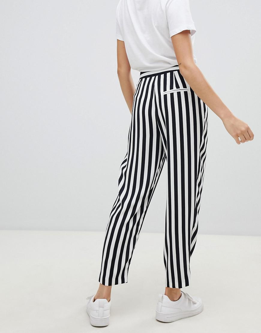 1a2d22de04450 ASOS Tailored Tapered Trousers In Bold Mono Stripe in Black - Lyst