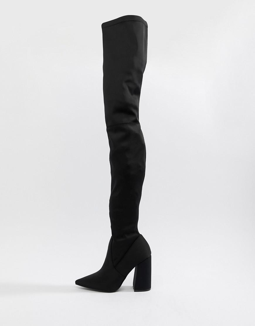 d5f95d346d4 Lyst - ASOS Kera Pointed Thigh High Boots in Black