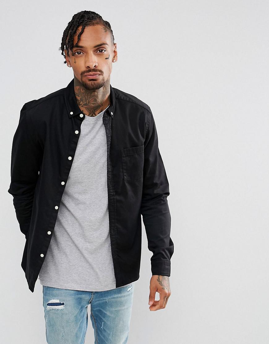 6fa7da88f4 ASOS Slim Stretch Denim Shirt In Black in Black for Men - Lyst