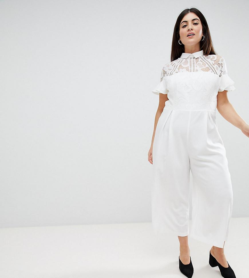 aa621f4c27e1 Lyst - ASOS Asos Design Curve Lace Top Jumpsuit With Culotte Leg in ...