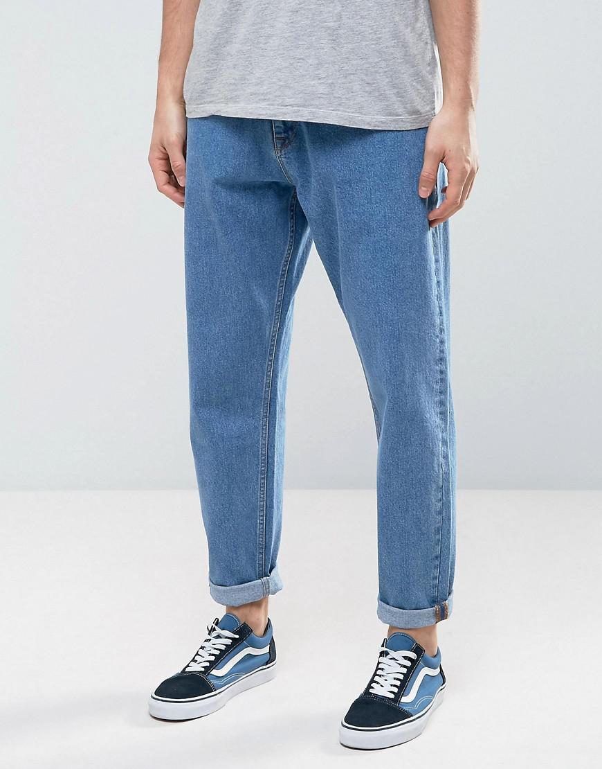 Tapered Jeans In Mid Wash Vintage With Faux Leather Rip & Repair - Mid wash vintage Asos Shopping Online Clearance Sneakernews Online Get Authentic Cheap Online 2018 Sale Online With Credit Card Free Shipping Kmt3aCn