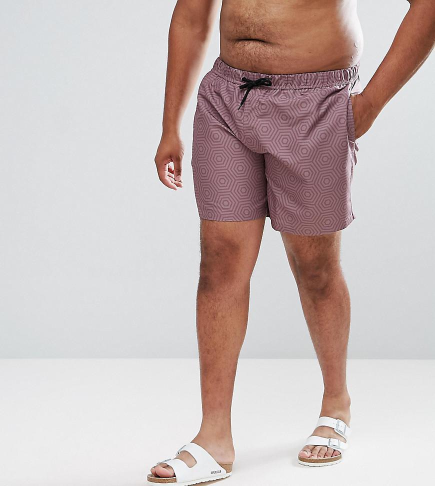 6d3df23217 ASOS. Men's Asos Plus Swim Shorts With Geometric Print In Pink Mid Length