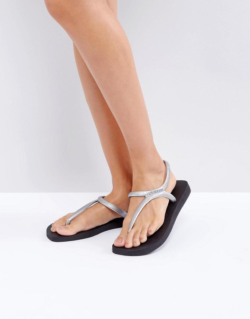 022db1a1f Havaianas Flash Urban Silver And Black Sandals in Metallic - Lyst