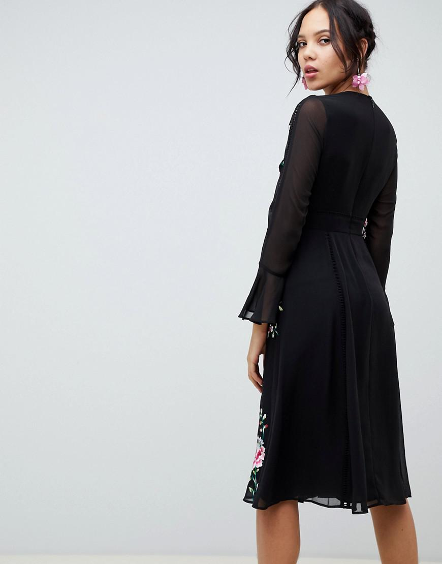 b1b340f1e7 ASOS Asos Design Tall Embroidered Midi Dress With Lace Trims in Black - Lyst
