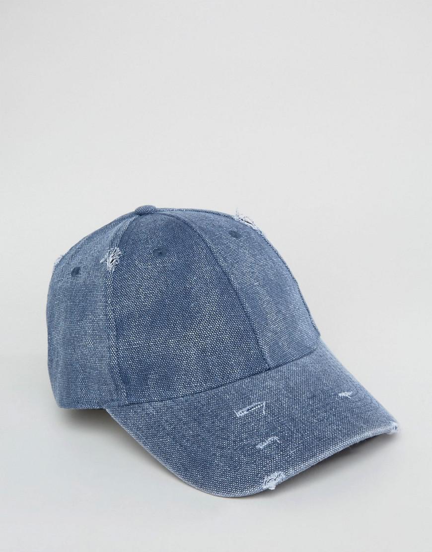 9886884def1 Asos Distressed Baseball Cap In Navy in Blue for Men - Lyst