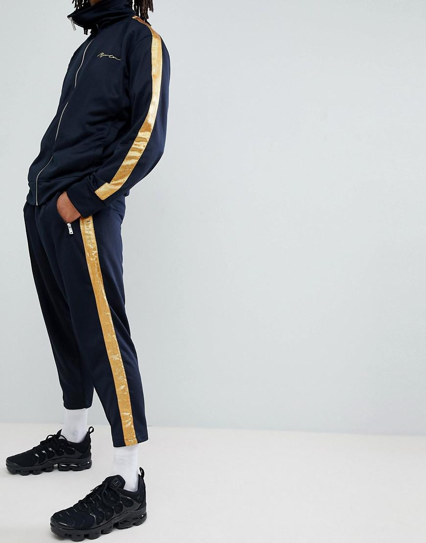 Skinny Jogger In Navy With Gold Side Stripe - Navy Mennace eEzGNSH