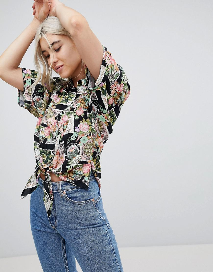 ASOS DESIGN Cropped Shirt In Jewelled Animal Print Buy Cheap Enjoy To Buy Outlet Wide Range Of Low Price Fee Shipping Cheap Price yOL5LWY