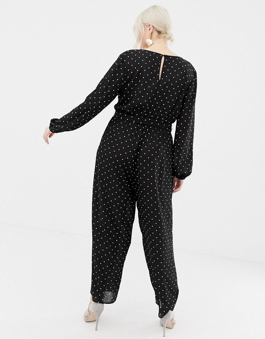 0ad69809f2f5 Lyst - ASOS Asos Design Curve Jumpsuit With Wrap In Spot in Black