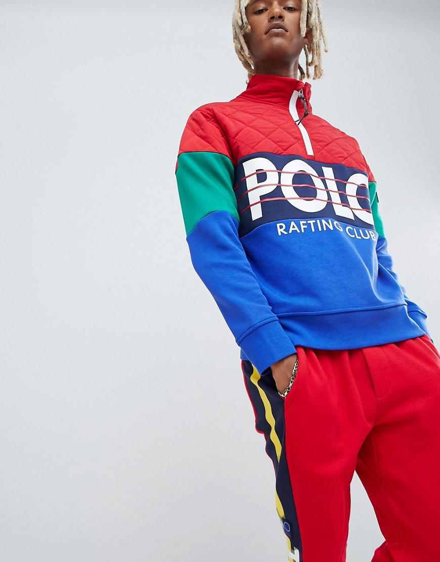 ce4b925322c697 Polo Ralph Lauren - Hi Tech Capsule Nylon Quilt/sweat Mix Half Zip  Sweatshirt Colour. View fullscreen