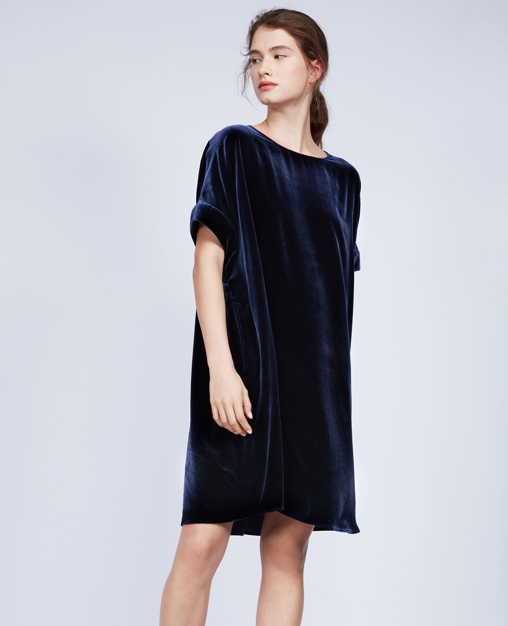 ccf967c4730 Lyst - Aspesi Silk Velvet Short Sleeve Dress in Blue