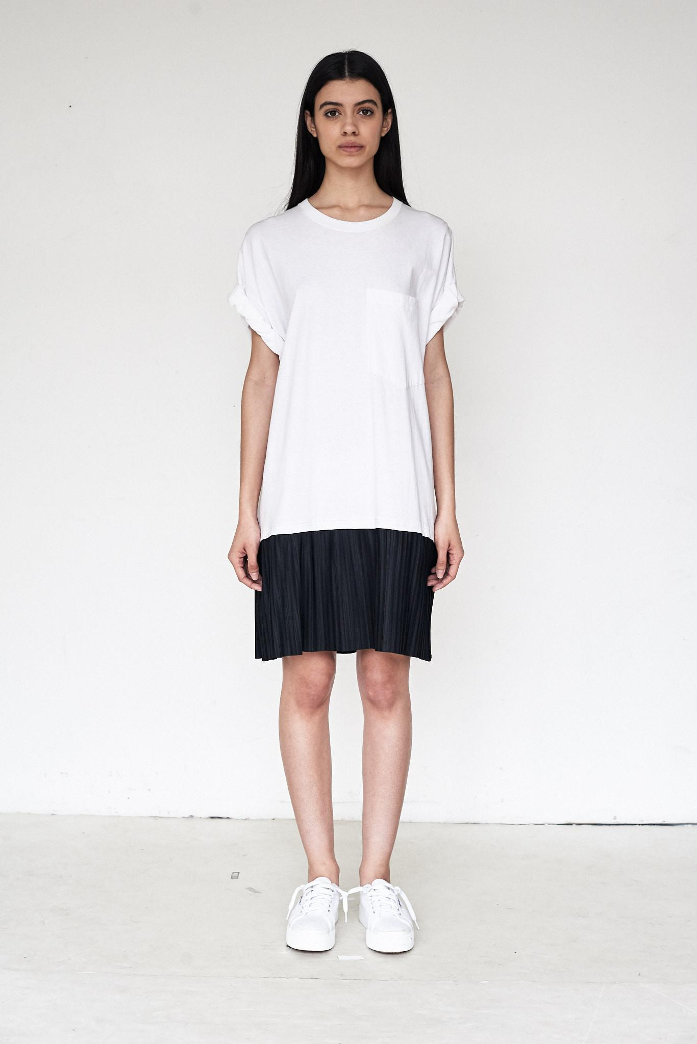 Assembly Cotton T-shirt Pleated Dress in White - Lyst