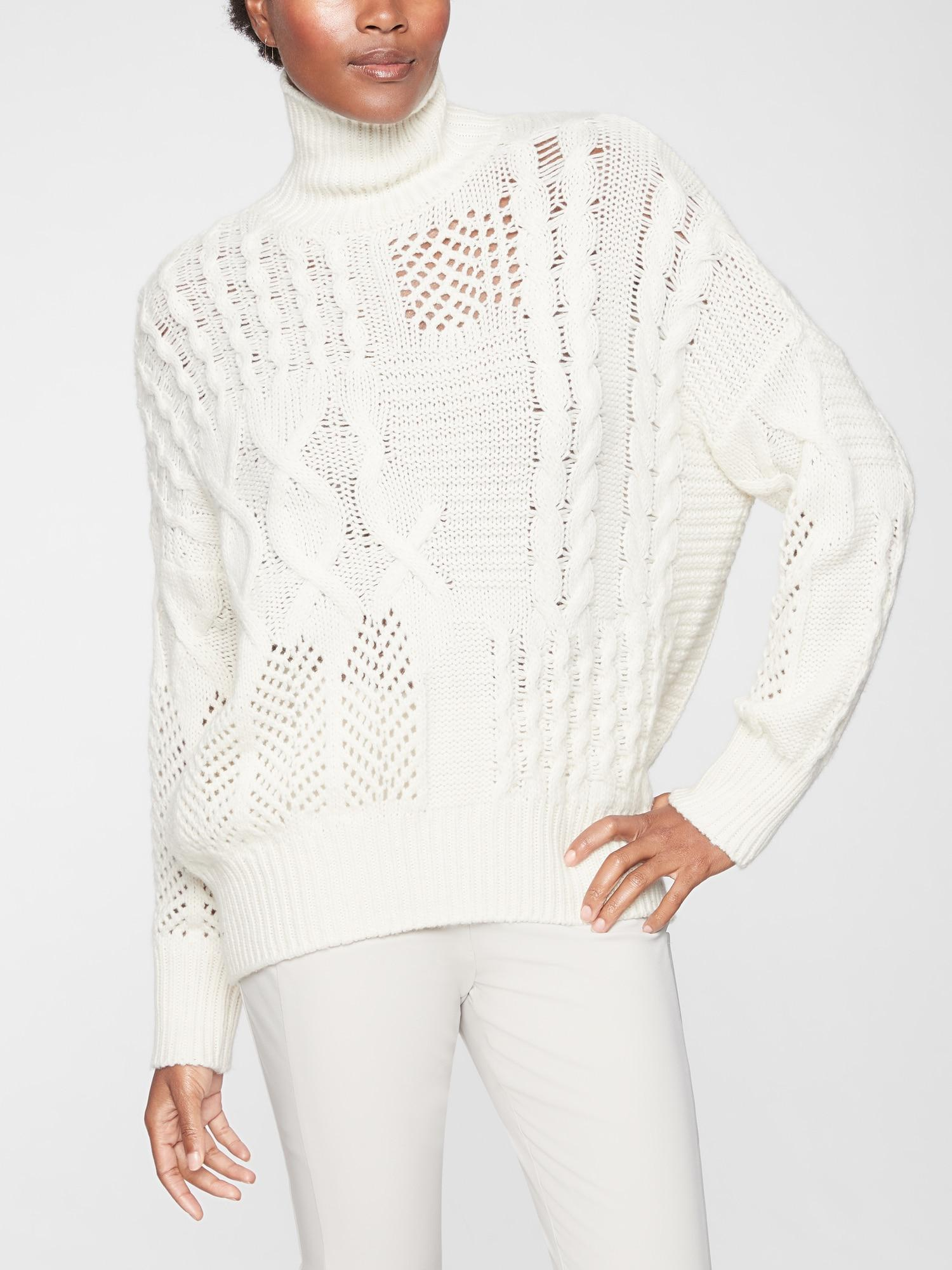 3106589e0dfca Lyst - Athleta Bedford Wool Cashmere Cable Turtleneck Sweater in White