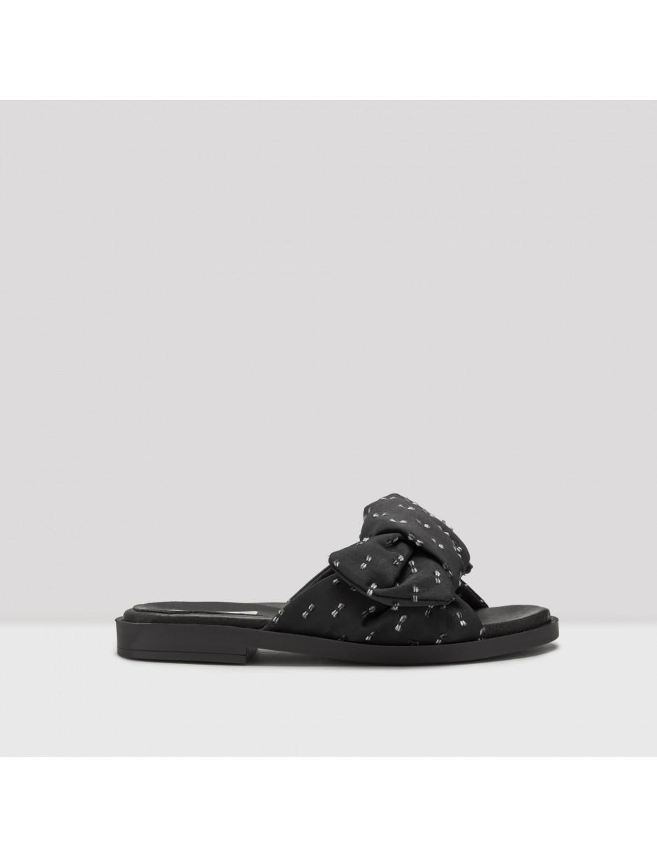 678ba125ad6a Lyst - Miista Valerie Black Bow Sandals in Black