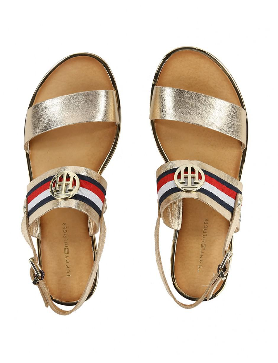 215e7738b9ec1 Tommy Hilfiger Women s Corporate Ribbon Flat Sandals in Metallic - Lyst