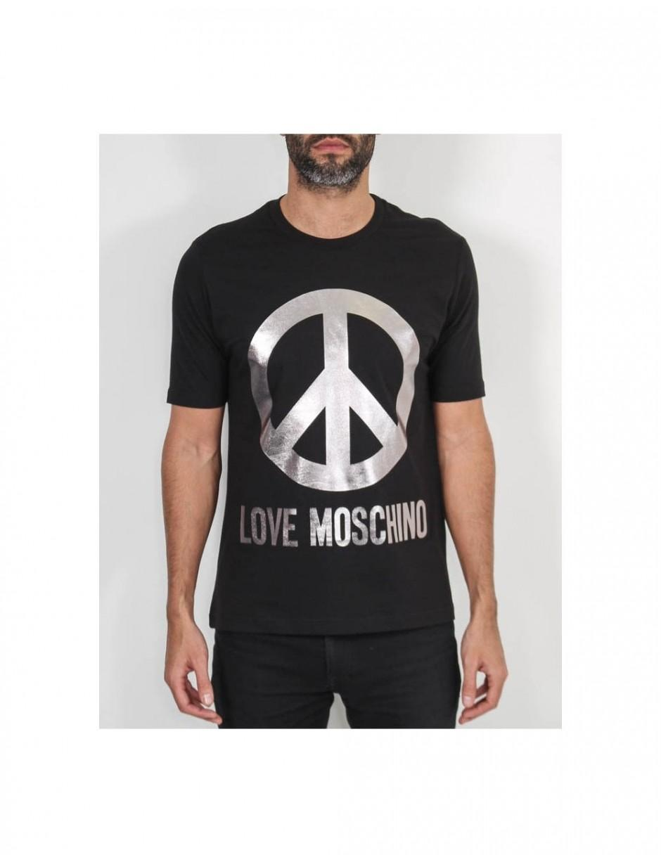 88ba3d43f0f Lyst - Love Moschino Metallic Peace Sign Tshirt in Black for Men