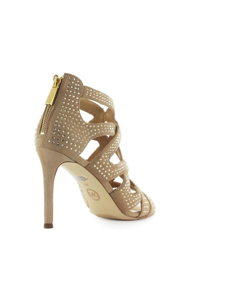 3afb5e28104 Lyst - MICHAEL Michael Kors Michael Kors Annalee Beige Sandal With  Rhinestones in Natural