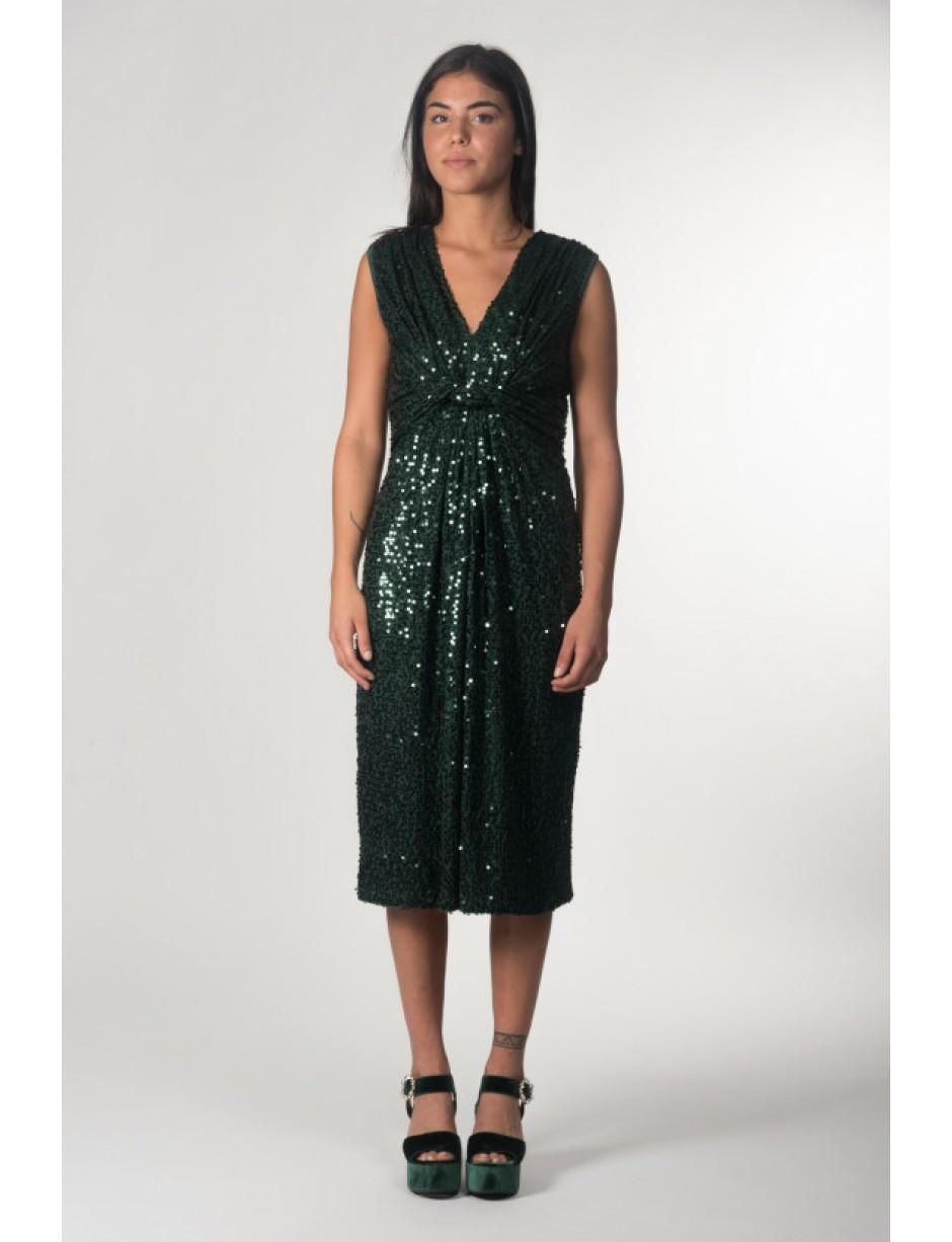 243eafae4d7 P.A.R.O.S.H. - Midi Dress In Green Sequins - Lyst. View fullscreen