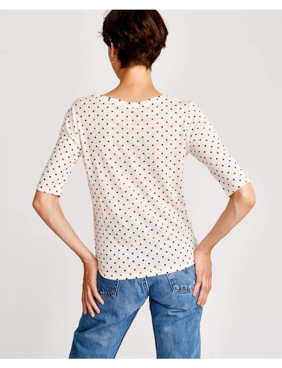 55f9c6166c39 Bellerose Seas Polka Dot Linen T-shirt in White - Lyst