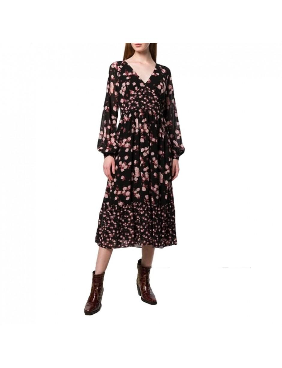 0c53c88b823 Lyst - MICHAEL Michael Kors Floral Printed Midi Dress in Black