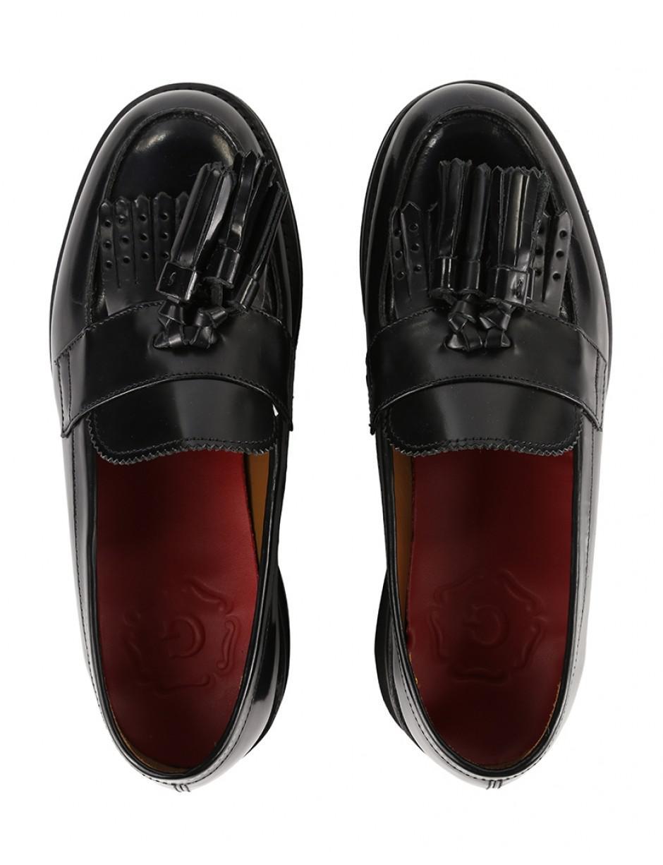7206419e11d Grenson Women s Clara Wedge Tassel Loafers in Black - Lyst
