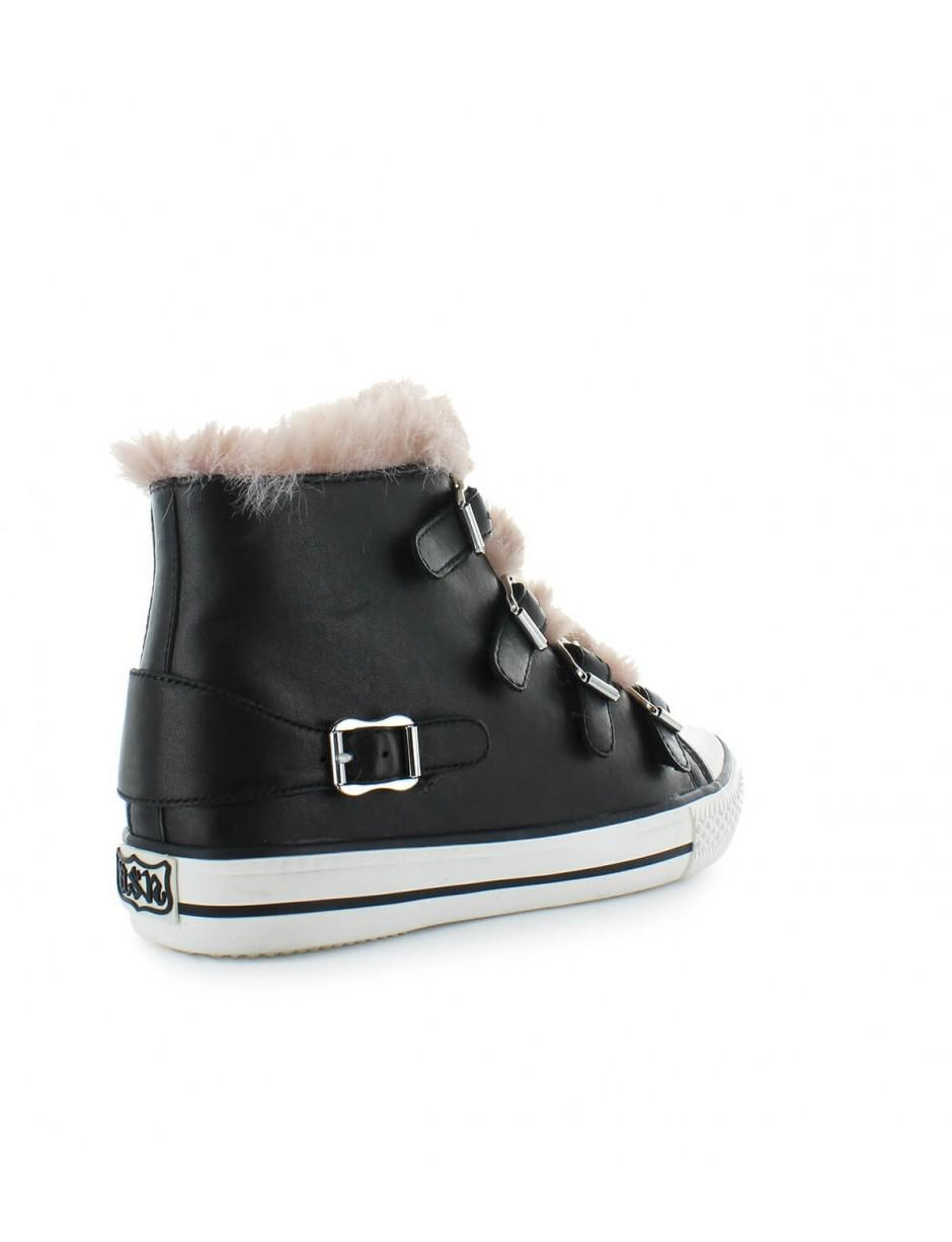 fa83652c3952 Lyst - Ash Black Valko Sneaker With Pink Faux Fur 36 in Black