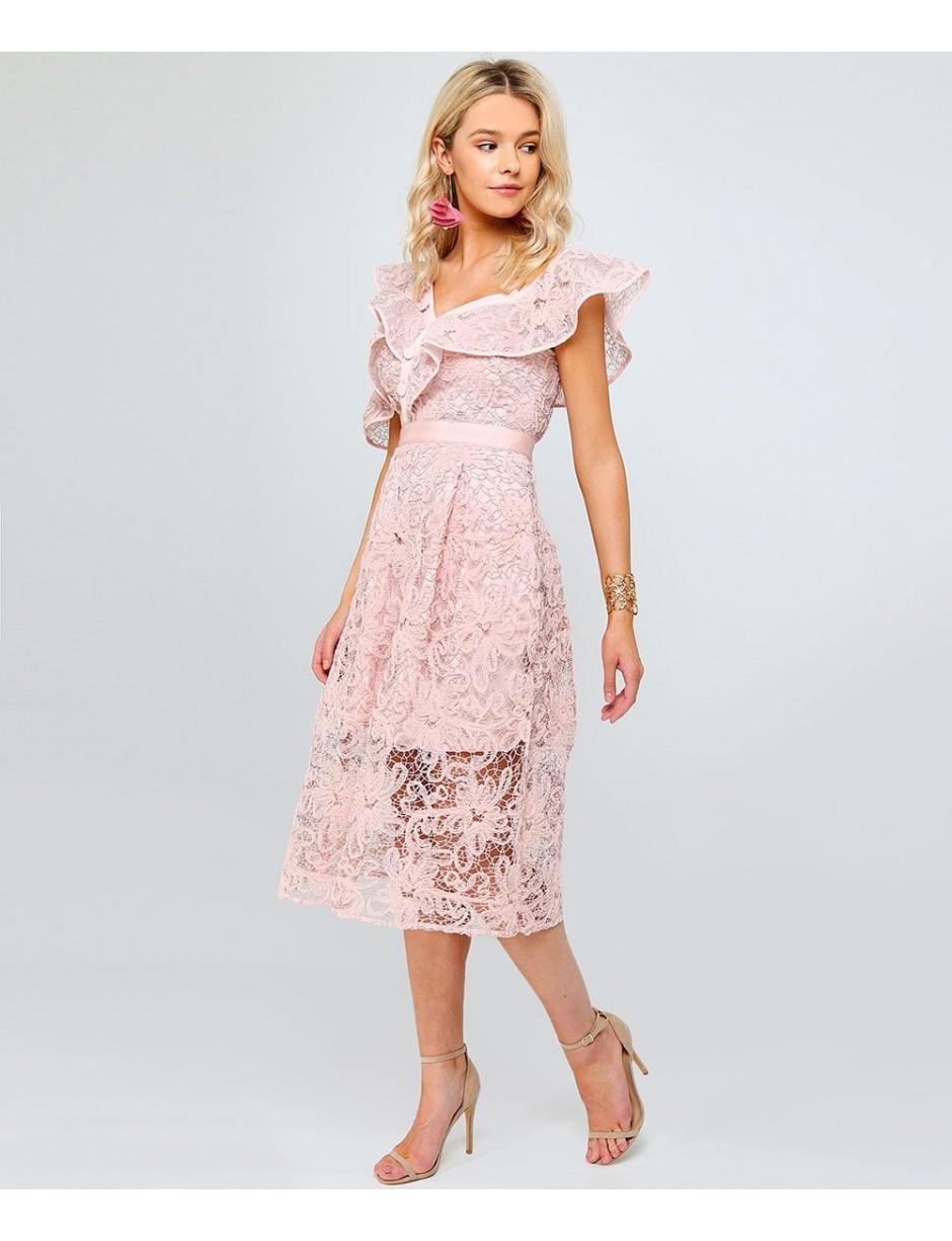 139761e54313 Self-Portrait Floral Mesh Lace Frill Midi Dress in Pink - Lyst