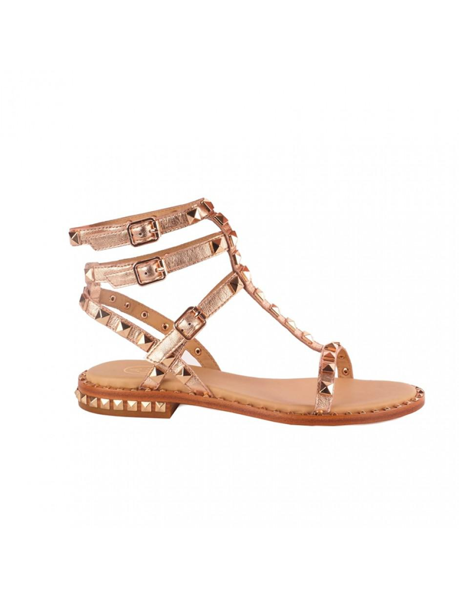 071218802e0c Lyst - Ash Poison Studded Sandals Rose Gold Leather   Gold Studs ...