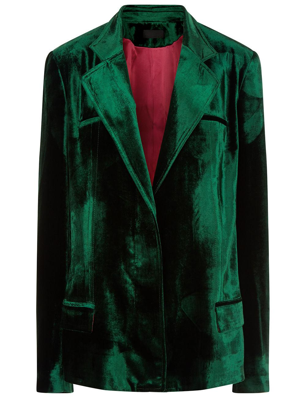 Haider Ackermann Emerald Velvet Single Breasted Blazer In