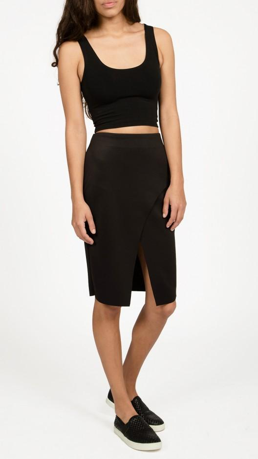 azalea scuba midi skirt in black save 41 lyst