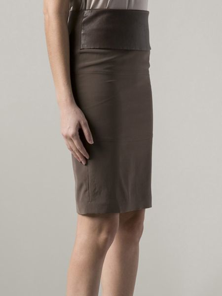 brunello cucinelli leather pencil skirt in brown lyst
