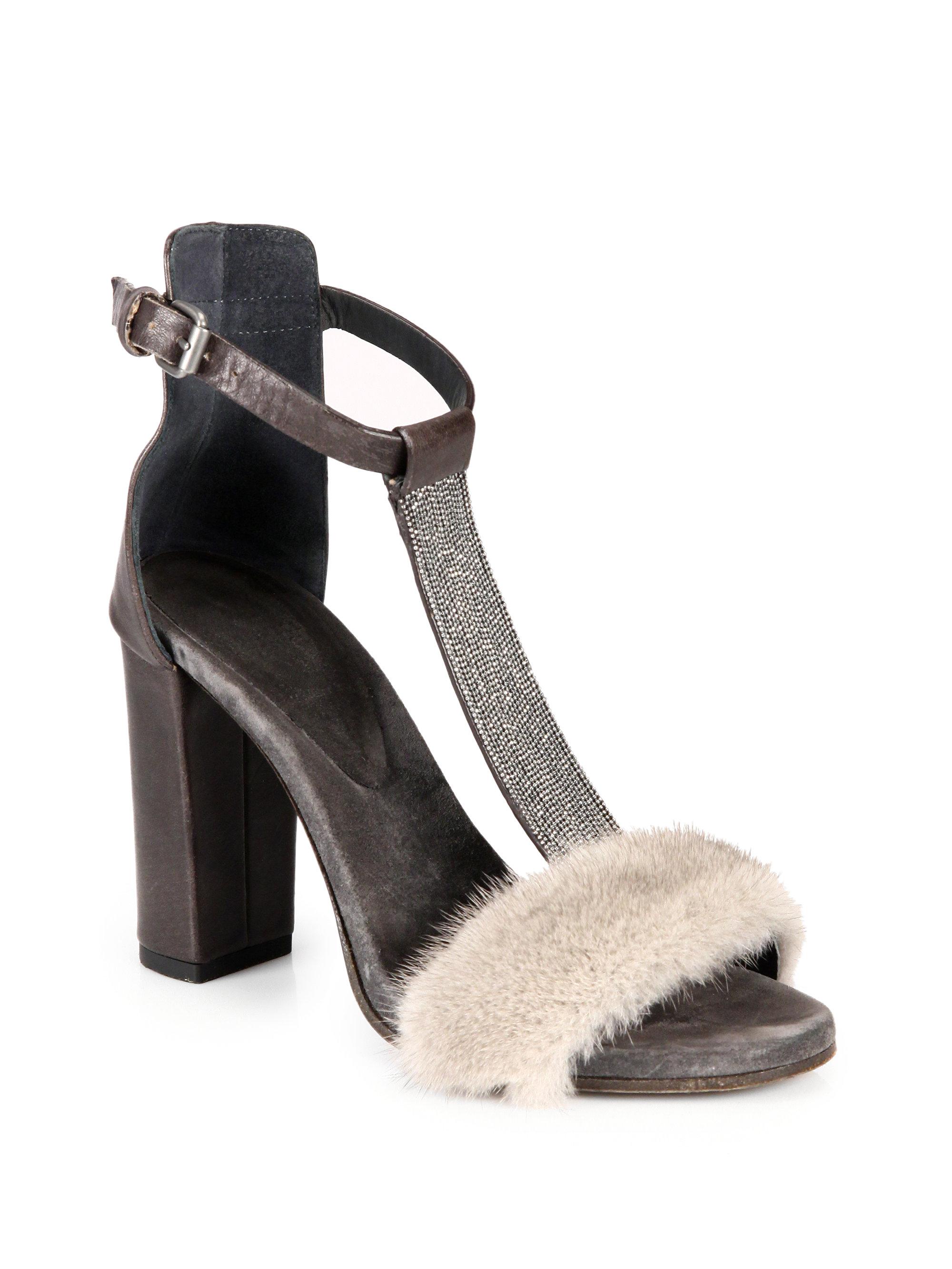 Monili-beaded leather sandals Brunello Cucinelli tn9OCQqf2