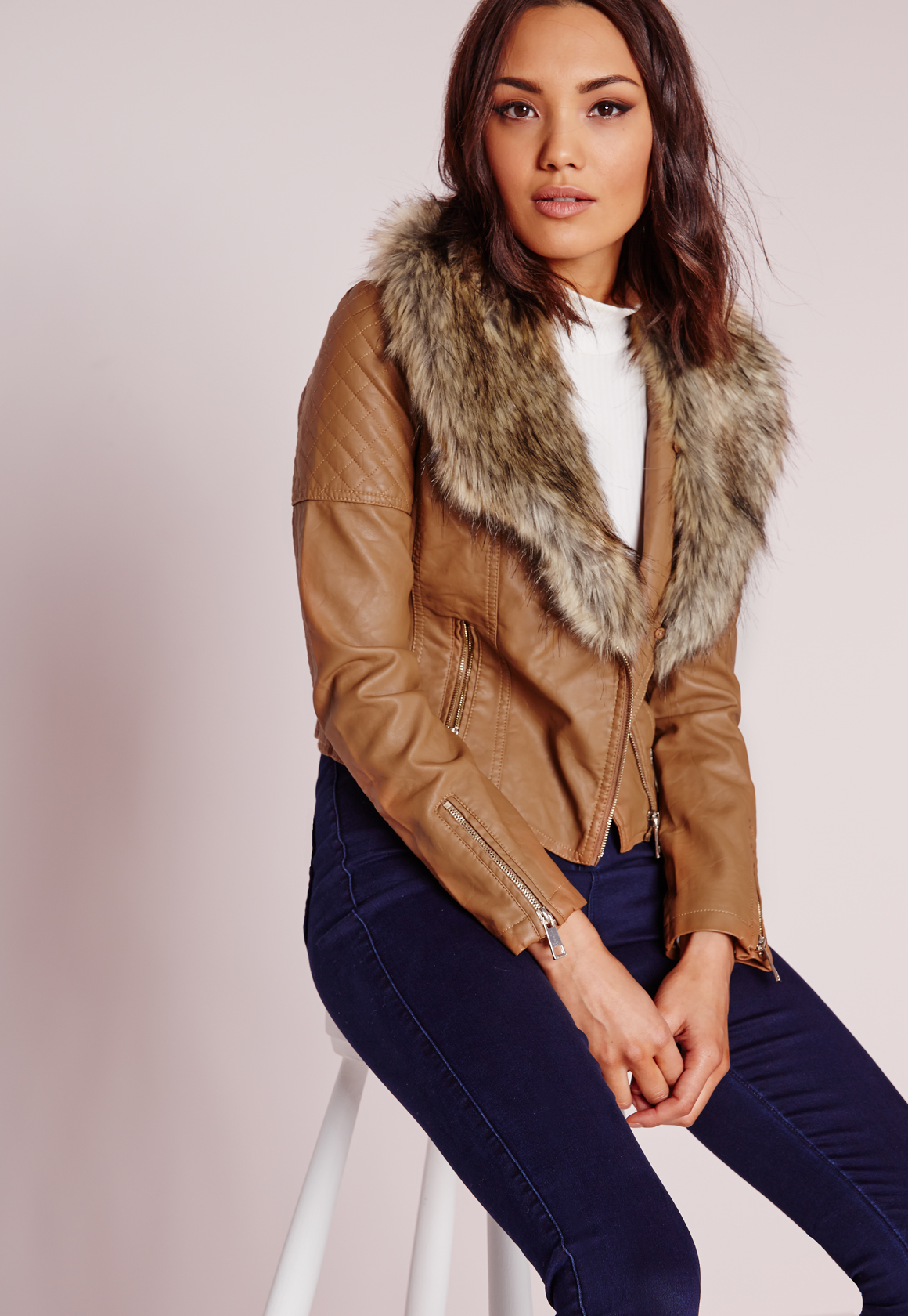 Missguided Faux Leather Biker Jacket With Faux Fur Collar Tan in ...