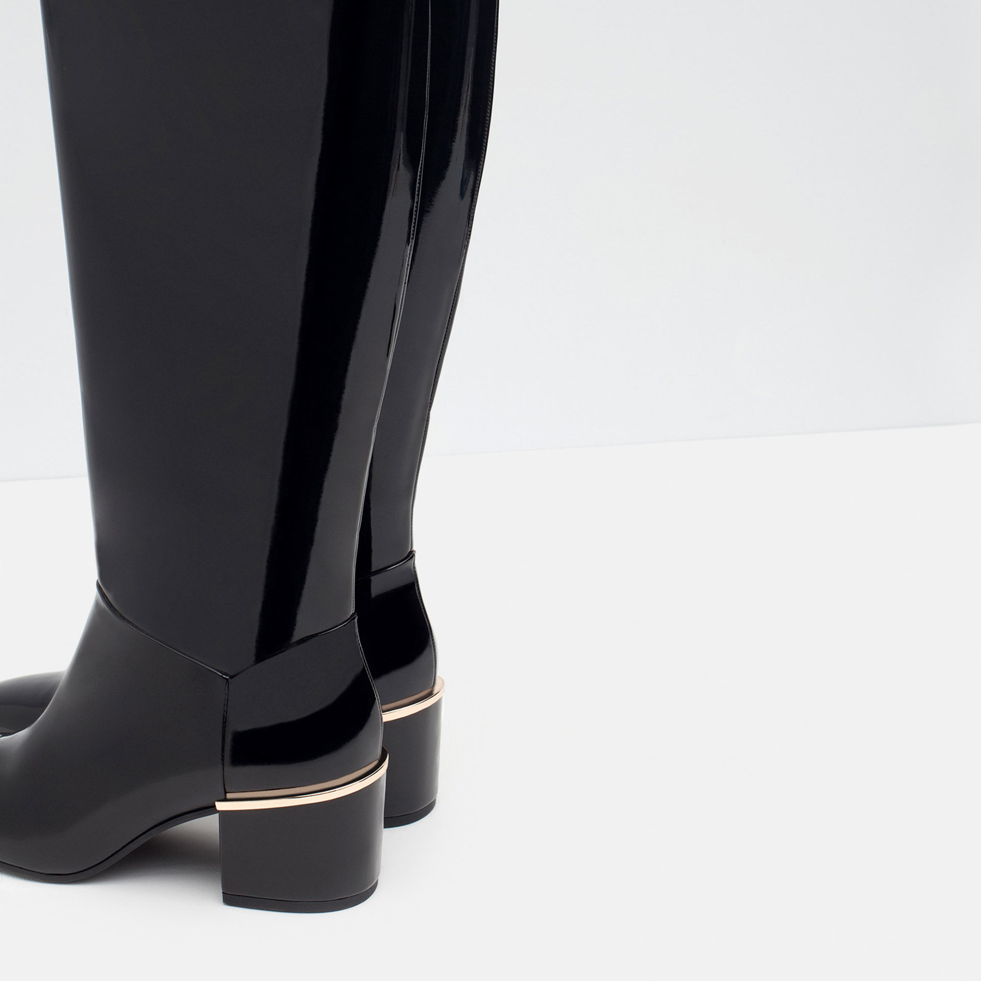 zara patent finish boots with heel detail in black lyst