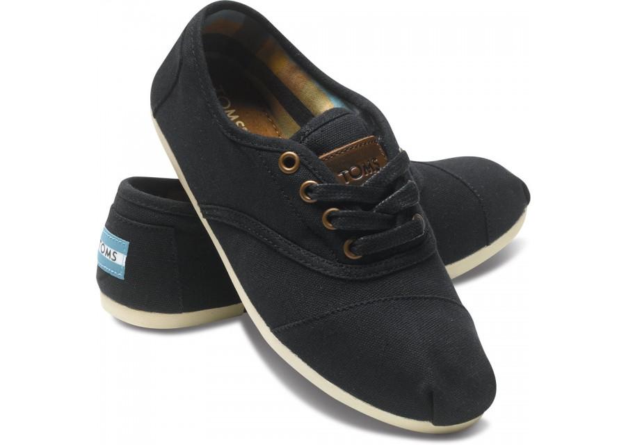 toms black cordones for women