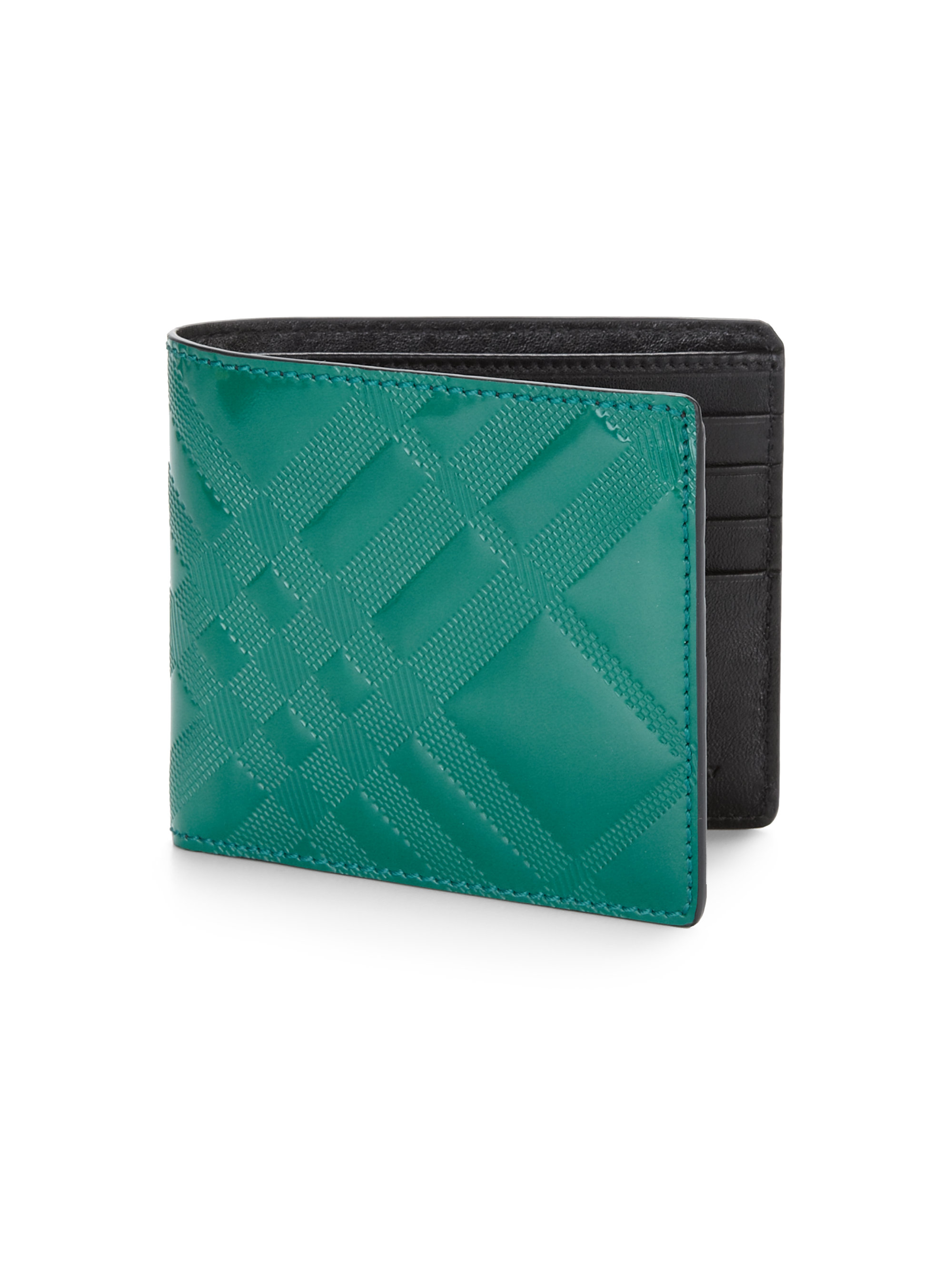 Lyst Burberry Leather Check Wallet in Green for Men