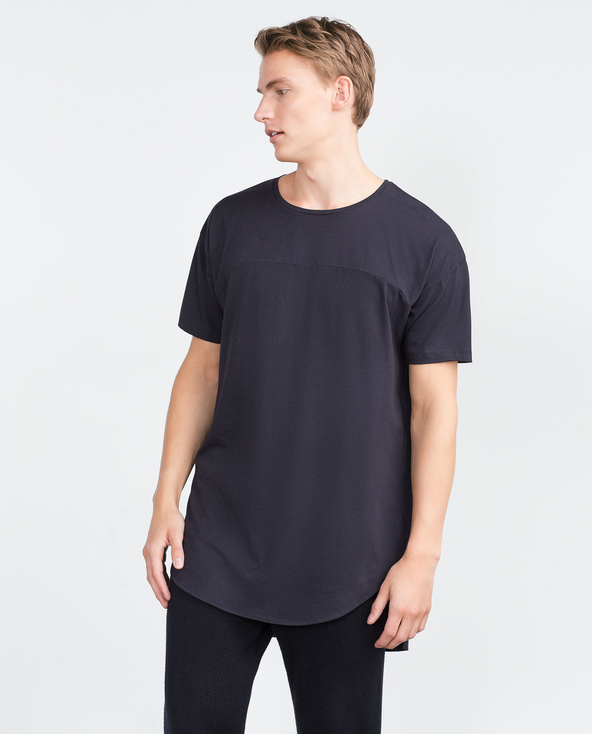 Zara irregular hem t shirt in blue for men navy blue lyst for Zara mens shirts sale