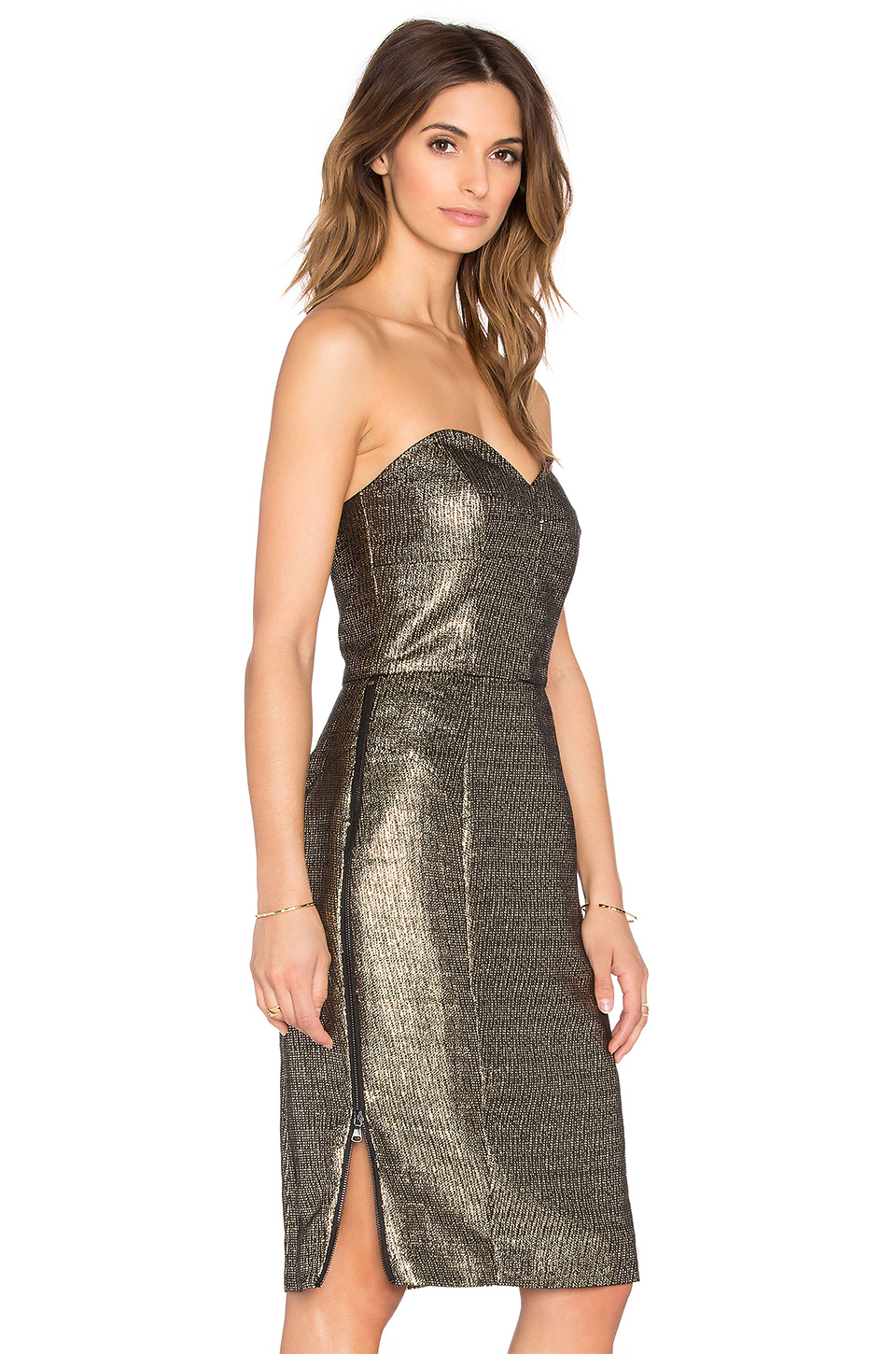 2f5a7f4af7d0 MILLY Marta Couture Metallic Strapless Dress in Metallic - Lyst