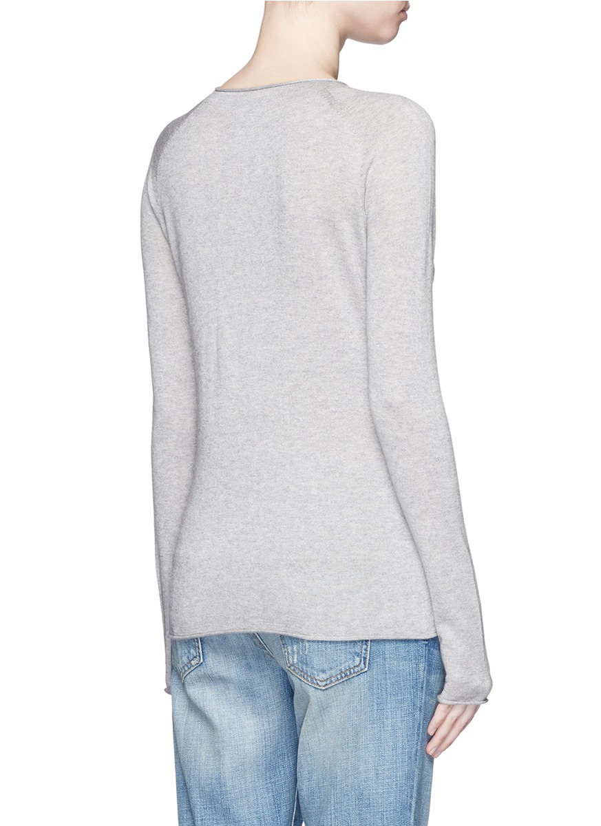 Vince Rolled Seam Silk-cashmere Sweater in Gray | Lyst